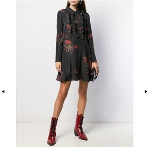 Red Valentino Black Flowers Mini Dress
